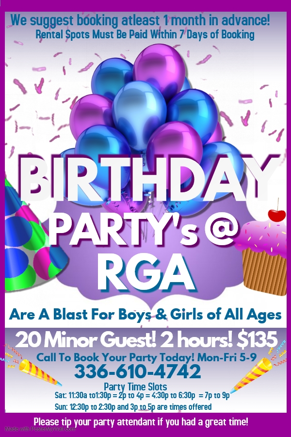 RGA Birthday Parties Asheboro, NC
